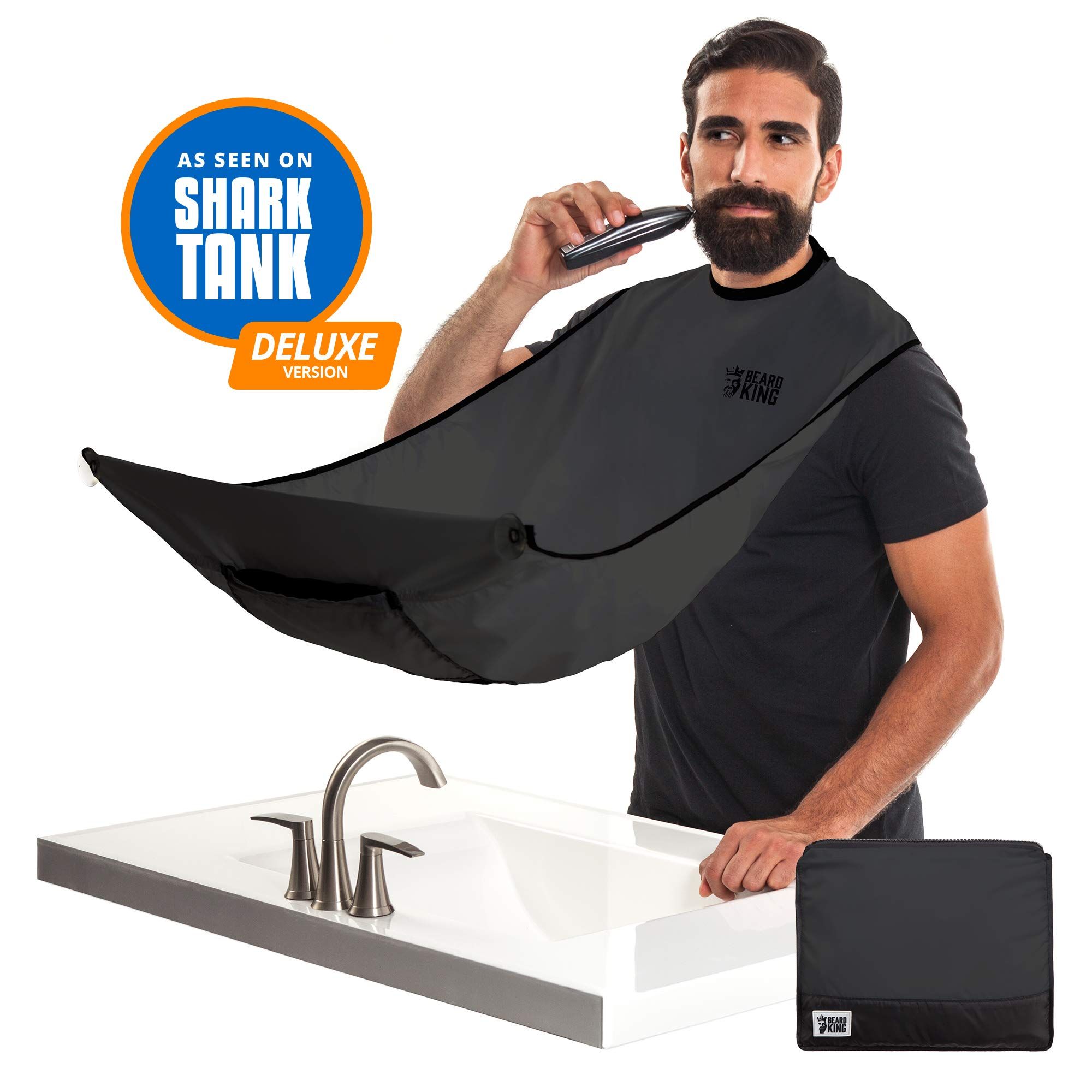 "BEARD KING - The Official Beard Bib - Hair Clippings Catcher & Grooming Cape Apron - ""As Seen on Shark Tank"" - Black (Deluxe Version)"