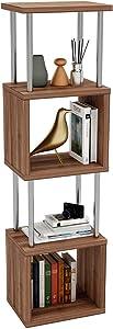 Bestier 4-Tier Geometric Bookshelf, Bookcases Storage Shelves, Modern Ladder Bookshelf Organizer Shelving Unit, Display Rack with Stable Steel Frame, for Living Room Bedroom Home Office, Walnut