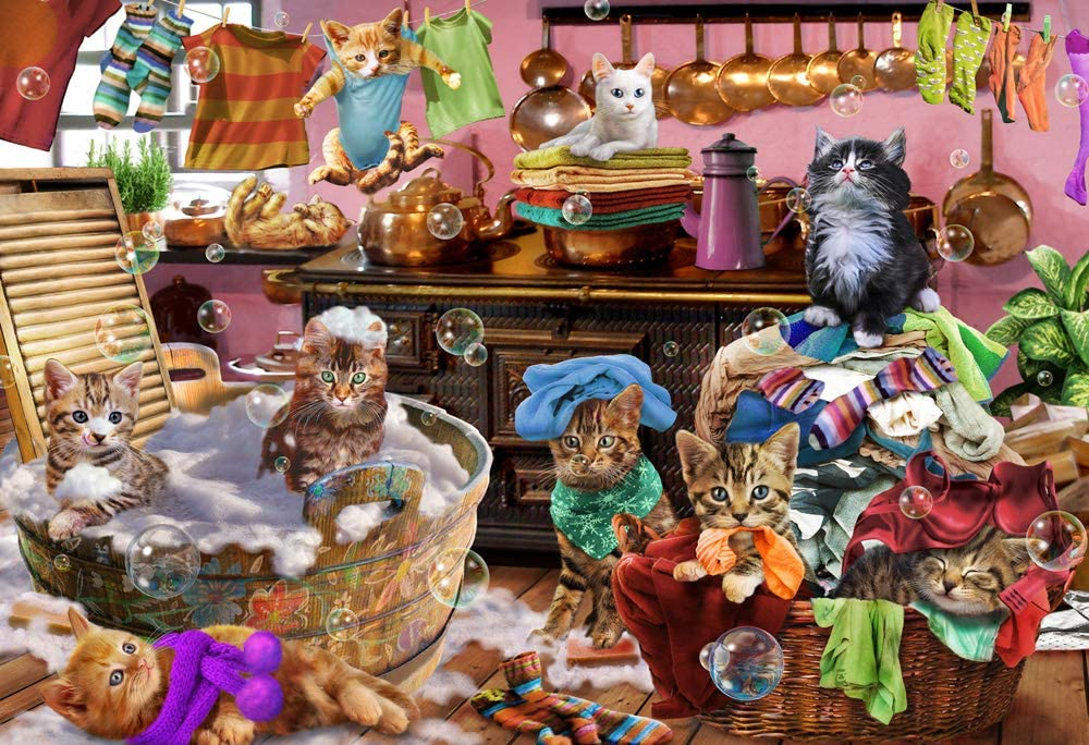 Kittens in The Kitchen Kid's Jigsaw Puzzle 100 Piece