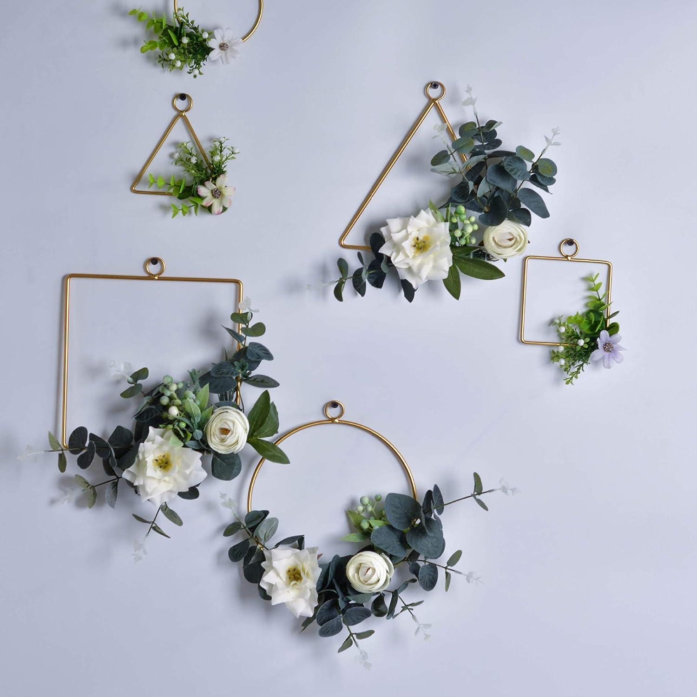 Pauwer Juego de 3 guirnaldas de aros florales hechas a mano con flores de rosas y flores de eucalipto verdor de metal para colgar en la pared