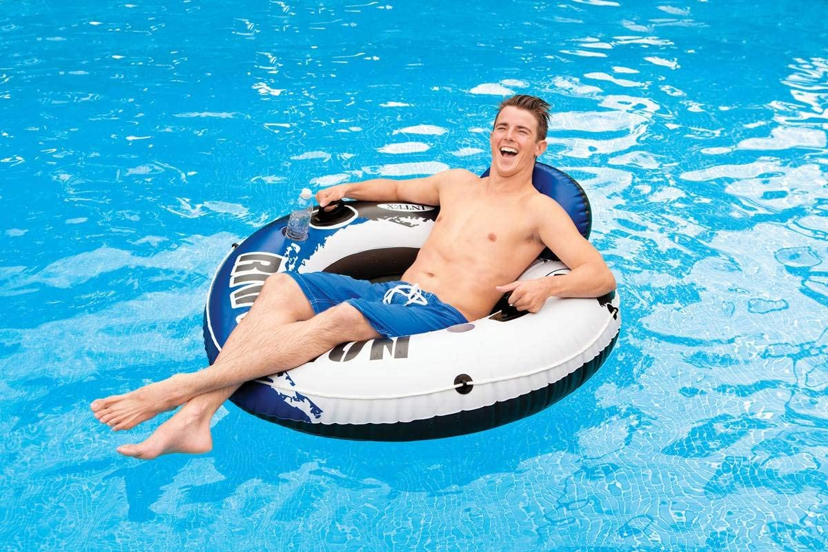 Single Float Intex River Run Inflatable 2 Person Pool Tube Float w// Cooler