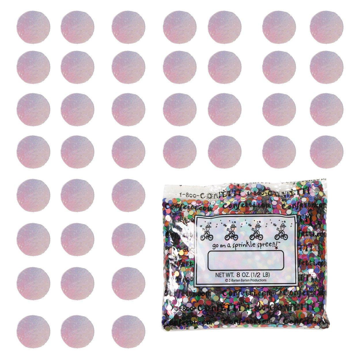 Confetti Circle 1/4'' Iridescent - Half Pound (8 oz) Free Ship (8681)