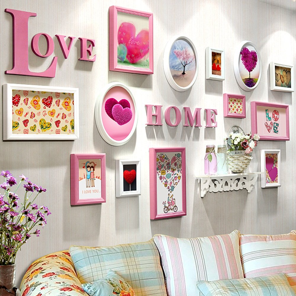 Photo frames wall / combination bedroom living room wall photo wall / love photo wall 13 box 202 102cm by Photo Wall (Image #1)