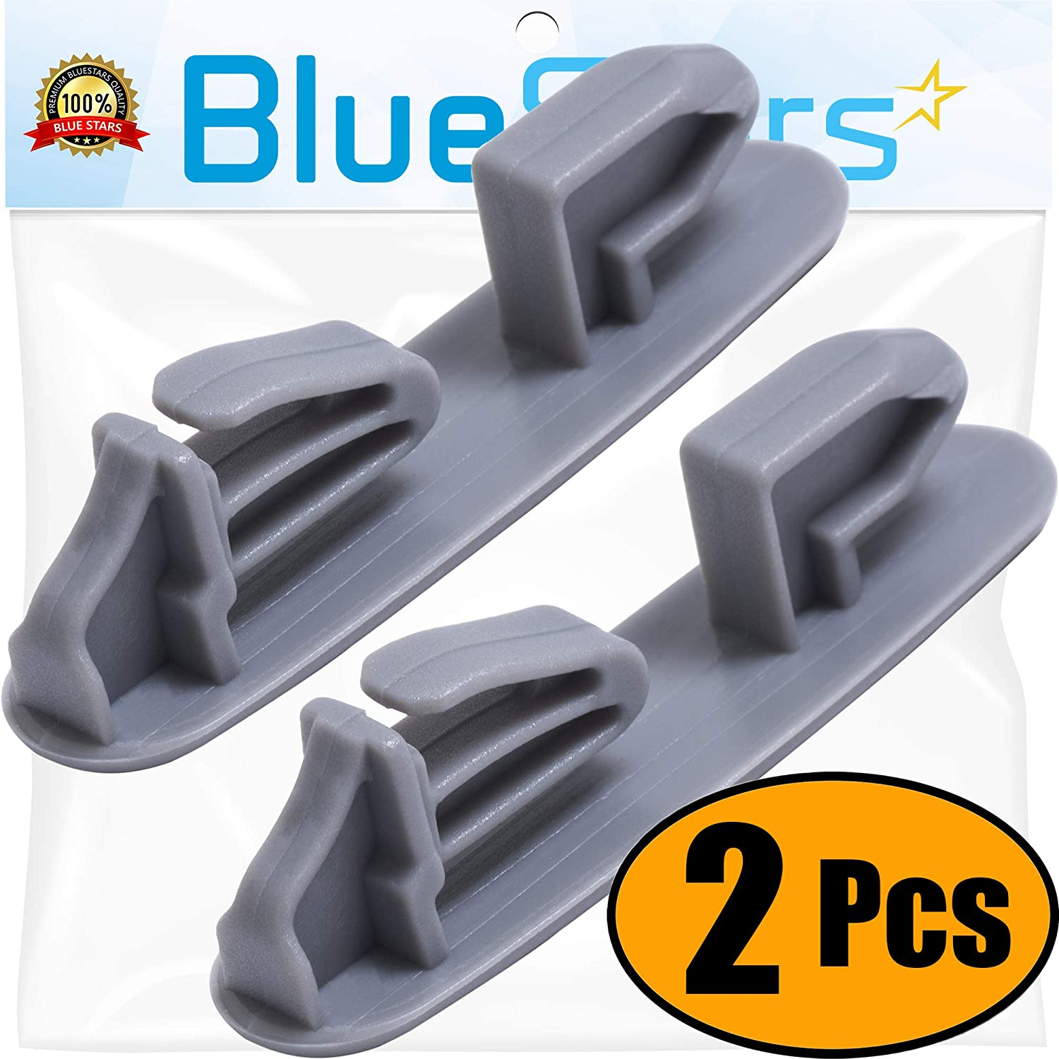 Ultra Durable 8565925 Dish Rack Stop Clip Replacement Part by Blue Stars – Exact Fit For Whirlpool & Kenmore Dishwashers - Replaces WP8565925 8524581 8270105 - PACK OF 2