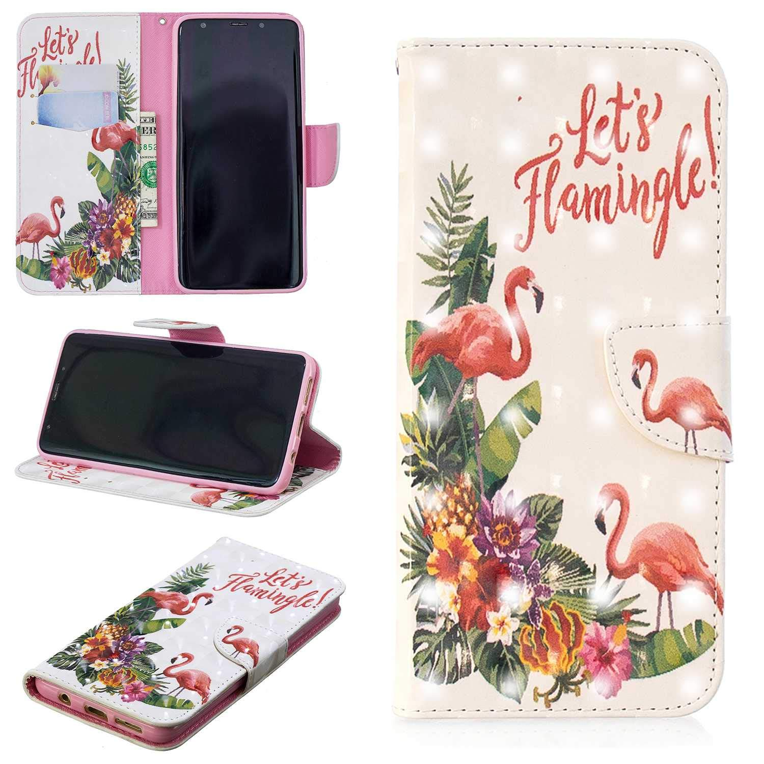 CUSKING Galaxy S9 Plus Case, Premium 3D Design Wallet Case Stand Flip Case with Card Holders and Magnetic Closure, Multi-Functional Shockproof Case for Samsung Galaxy S9 Plus - Flamingo