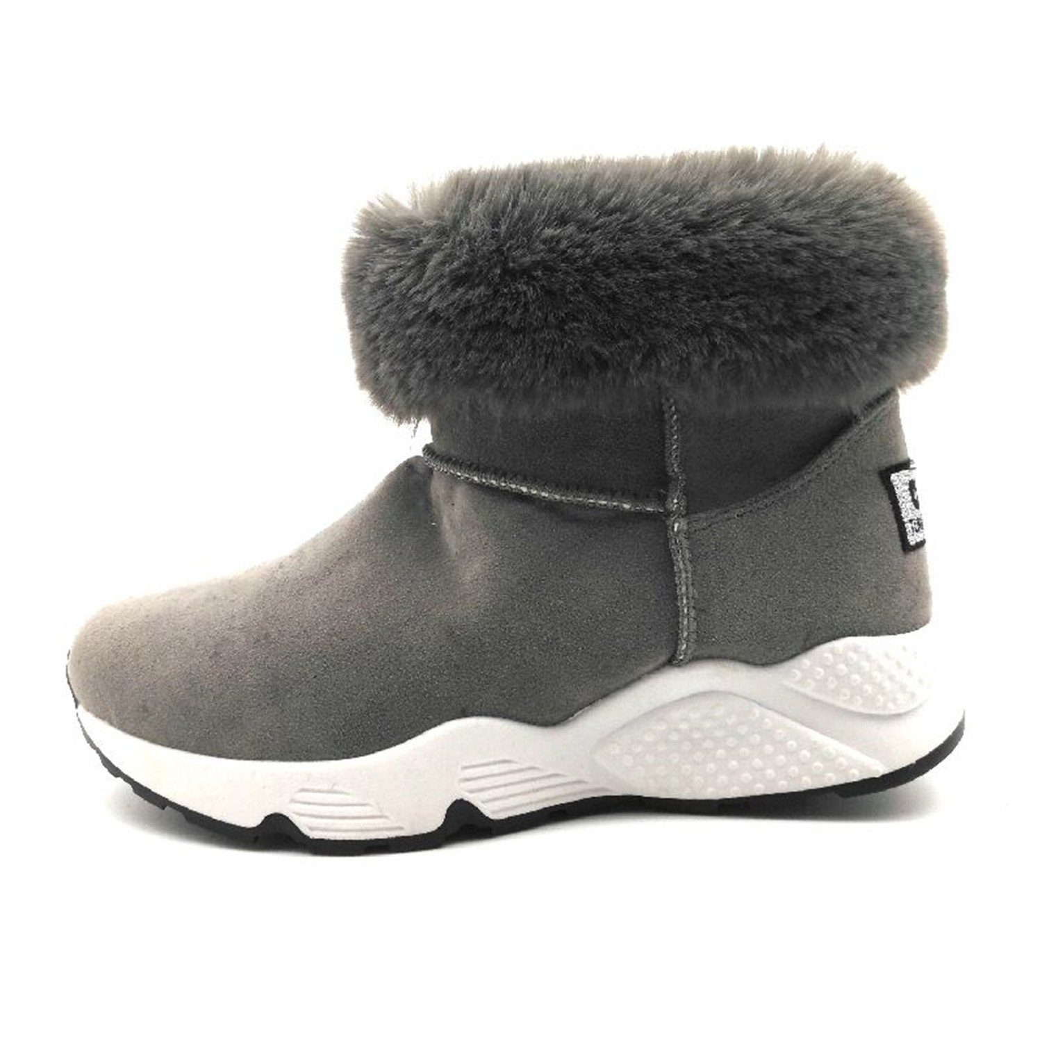 Amazon.com | Winter Women Snow Boots Flat Round-Toe Ankle Boots Warm Plush Boots Slip-On Women Shoes Black Gray Dark Grey 8.5 | Boots