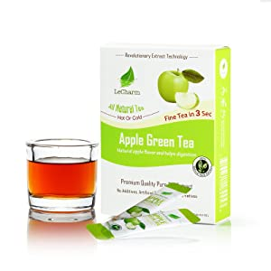 Apple Green Instant Tea on the Go LeCharm 100% Natural Tea Extract, Unsweetened Drink Instant Crystallized Tea Powder for Pure Water, Iced Tea and Hot Tea(10 Sachets)
