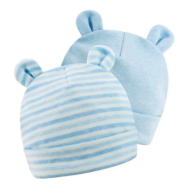 Gomemory HAT ベビーガールズ 0 - 6 Months Blue/Stripes B07NNW55QV
