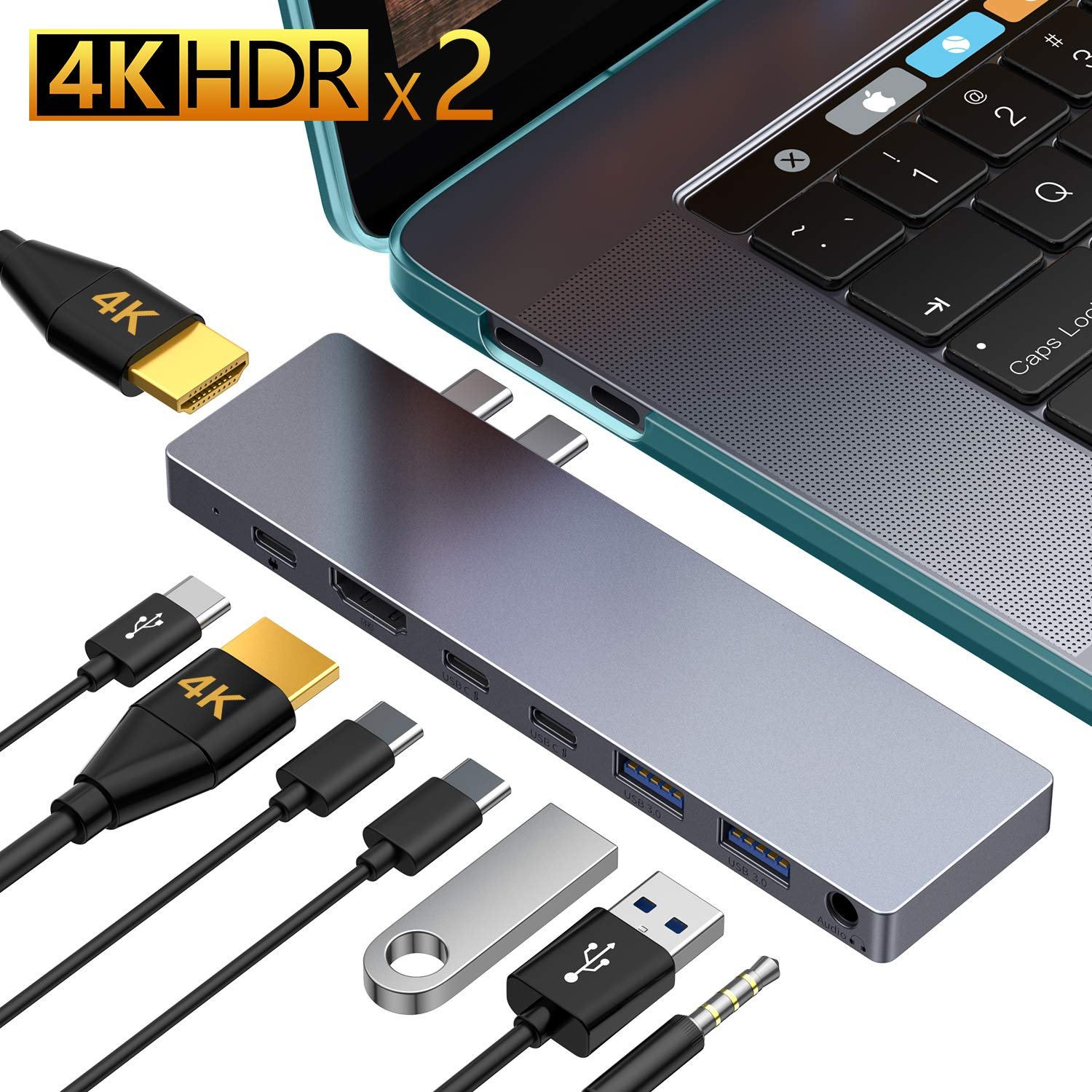 USB C Hub,GIKERSY 8-in-1 USB C Docking Station Compatible with MacBook Pro 2019,2018-2016 13''/15'' with case,2 HDMI 4K,USB-C 87W Power Delivery,2USB-C Data Ports,2USB 3.0 Ports,3.5mm Audio Jack