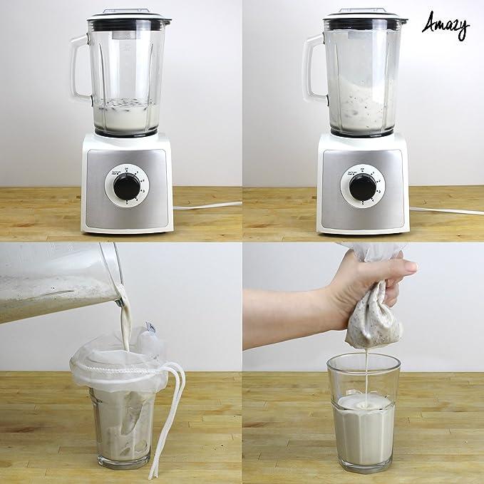 Compra Amazy Set de 2 Bolsas de Leche Vegetal/Bolsa Filtro + 8 pizzara etiquetas reutilizable - Ideal para leche de nuez, zumos y batidos de frutas y ...