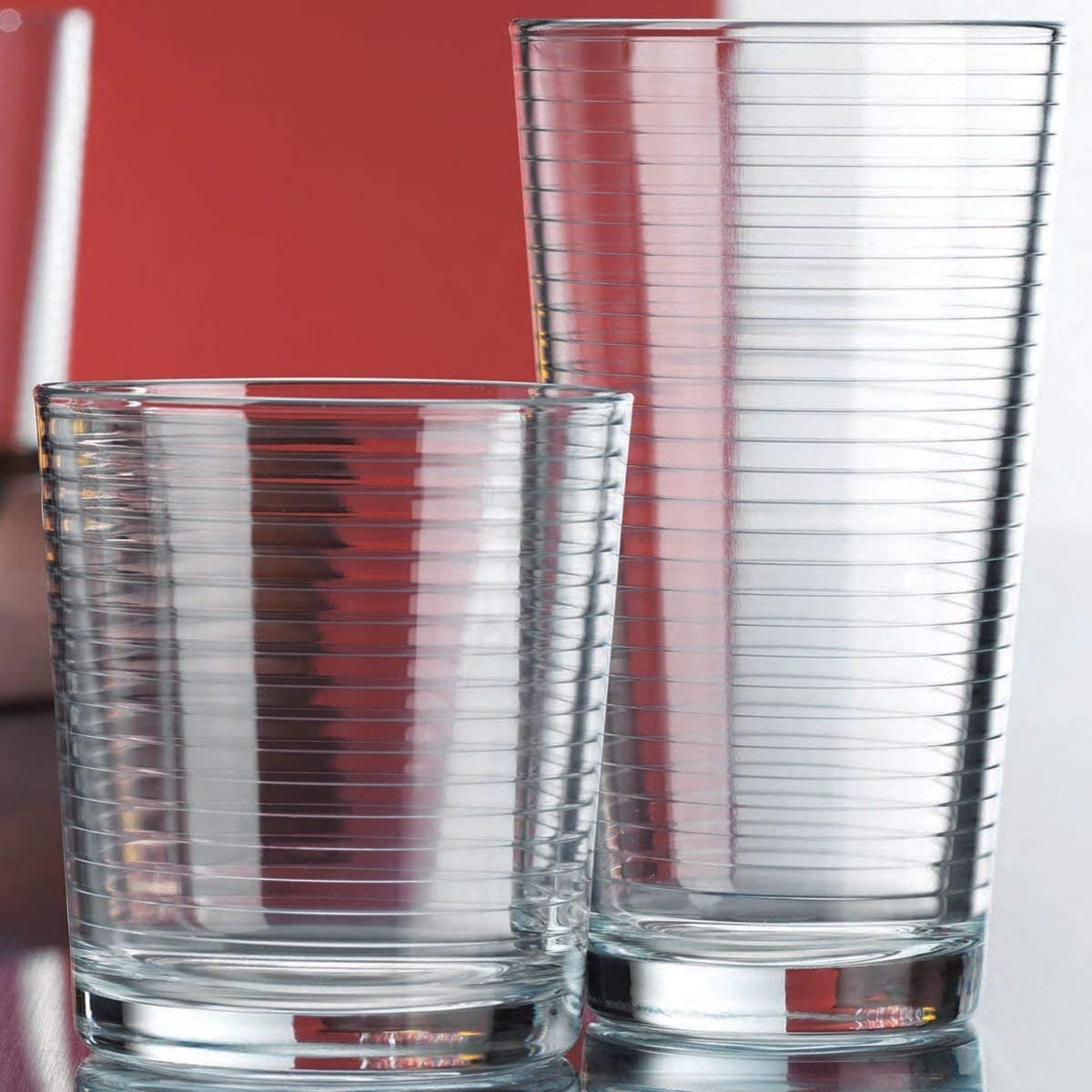 Set of 16 Heavy Base Ribbed Durable Drinking Glasses Includes 8 Cooler Glasses (17oz) and 8 Rocks Glasses (13oz), Clear Glass Cups - Elegant Glassware Set