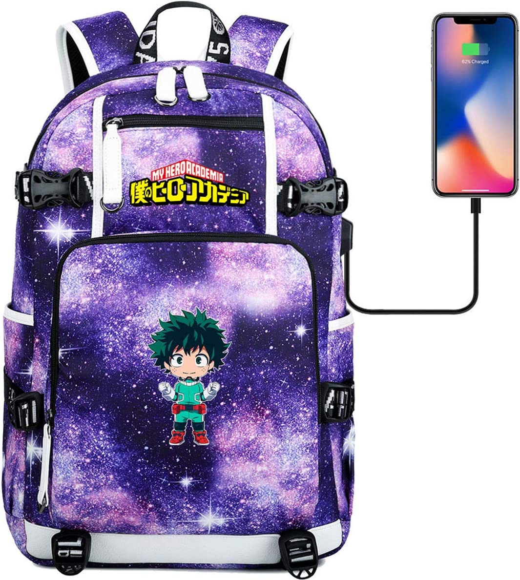 MPOX My Hero Academia Backpack-Laptop Backpack School Backpack with USB Charging Port Waterproof Bookbag for Teen