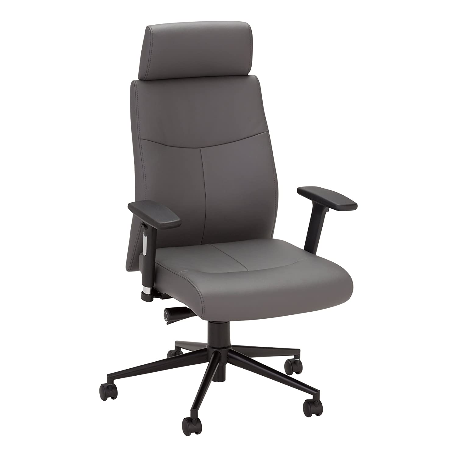 Norwood Commercial Furniture Ergonomic Fully-Adjustable Executive Office Desk Chair with Headrest, Gray, NOR-OUG3000GR-SO