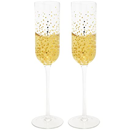 Amazon Set Of 2 Fizz Gold Dot Champagne Flutes Toast Drinking