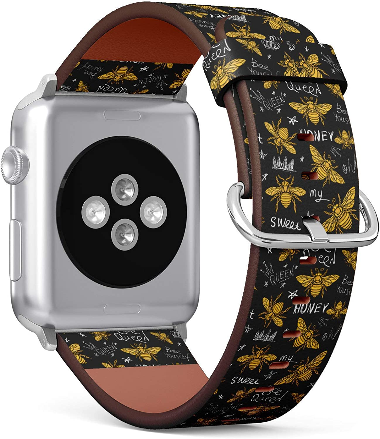 (Honey bee Golden Pattern Queen Crown Textile) Patterned Leather Wristband Strap for Apple Watch Series 4/3/2/1 gen,Replacement for iWatch 38mm / 40mm Bands