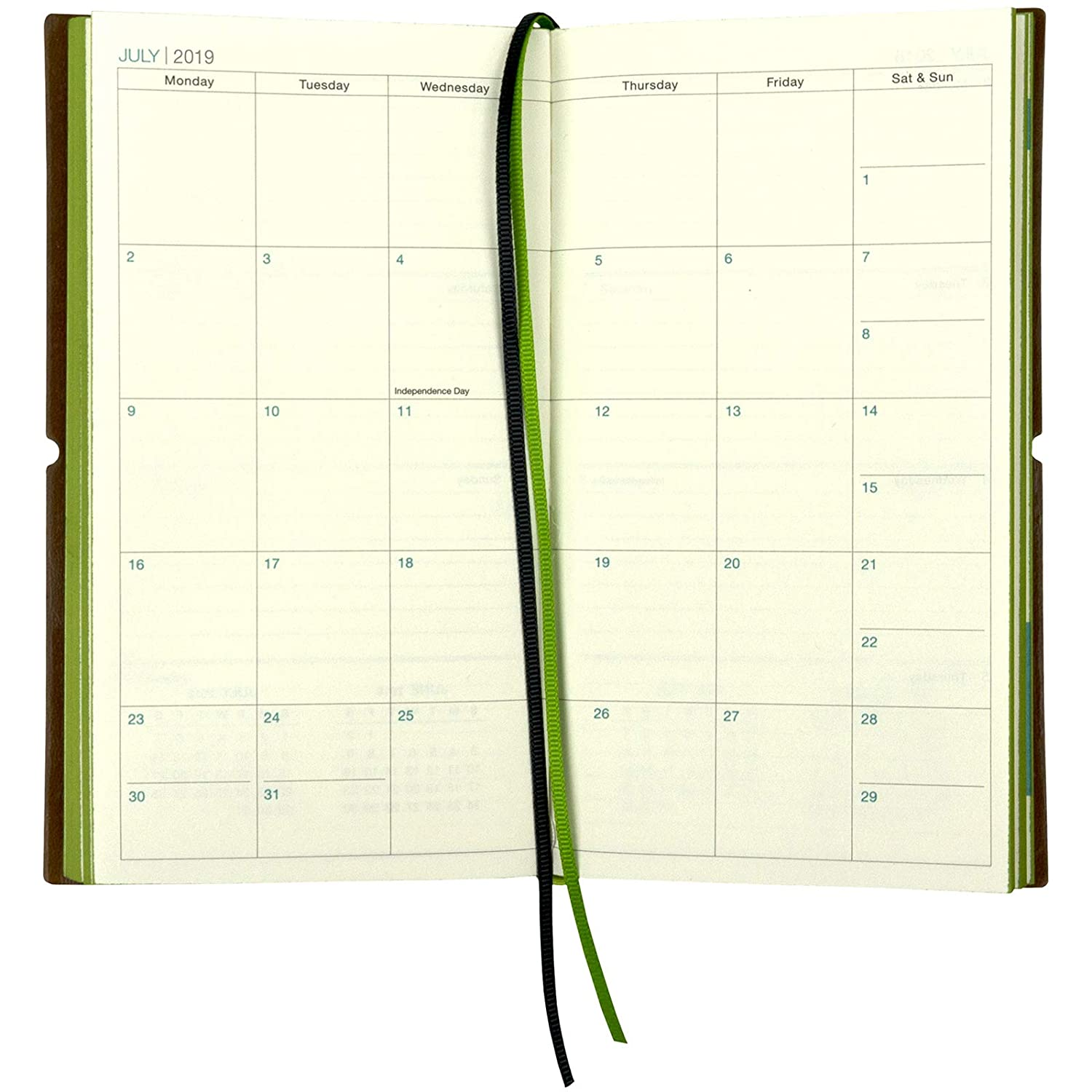 2019 Planner/Pocket Calendar: 14 Months (Nov 2018 - Dec 2019) Weekly, Monthly Calendars, Leather Material, Elastic Closure, Decorative Stitching, Page ...