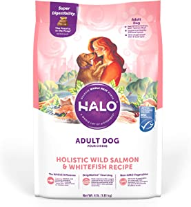 Halo Natural Dry Dog Food - Premium and Holistic Real Whole Meat - Salmon & Whitefish Recipe - 4 Pound Bag - Sustainably Sourced Adult Dry Dog Food - Non-GMO, Highly Digestible, and Made in the USA