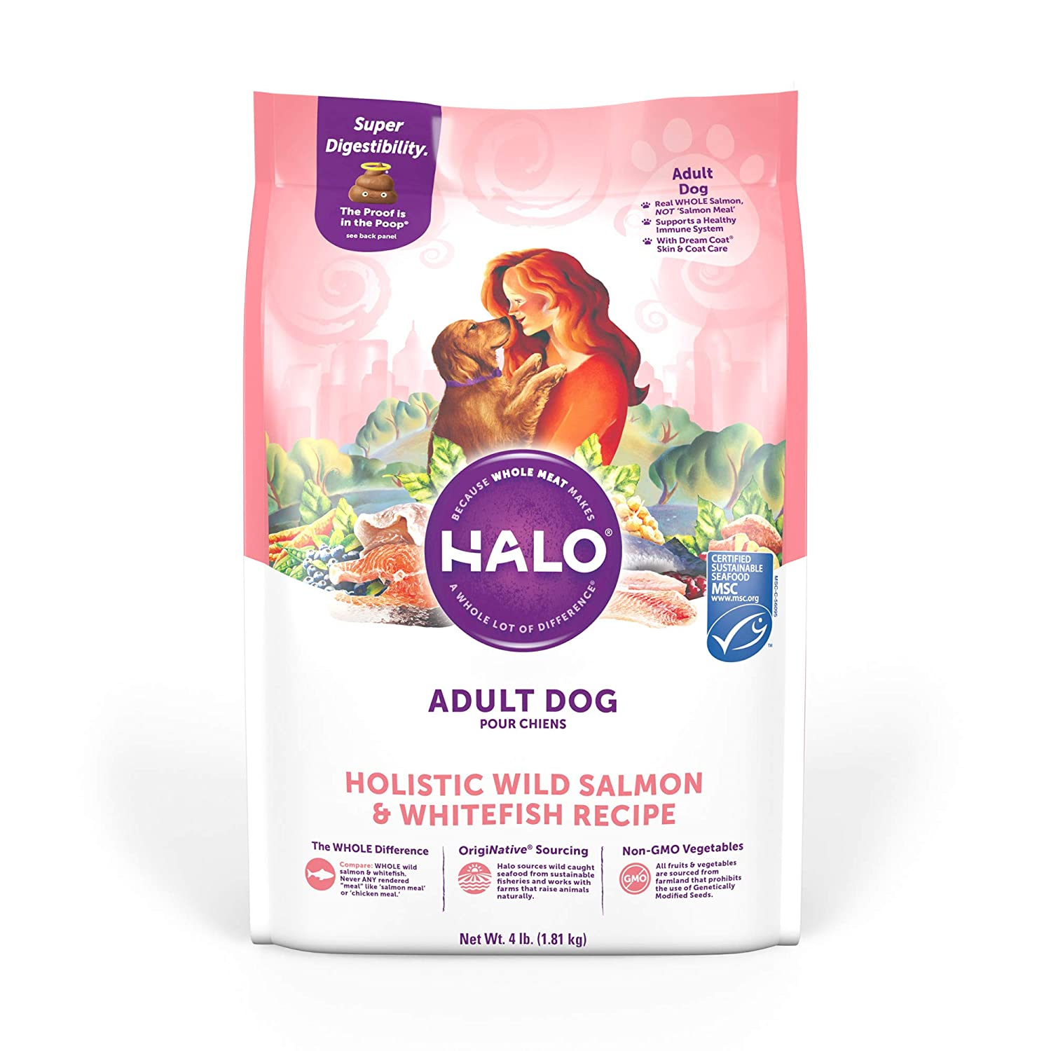 6. Halo Holistic Wild Salmon & Whitefish Grain-Free Dry Dog Food