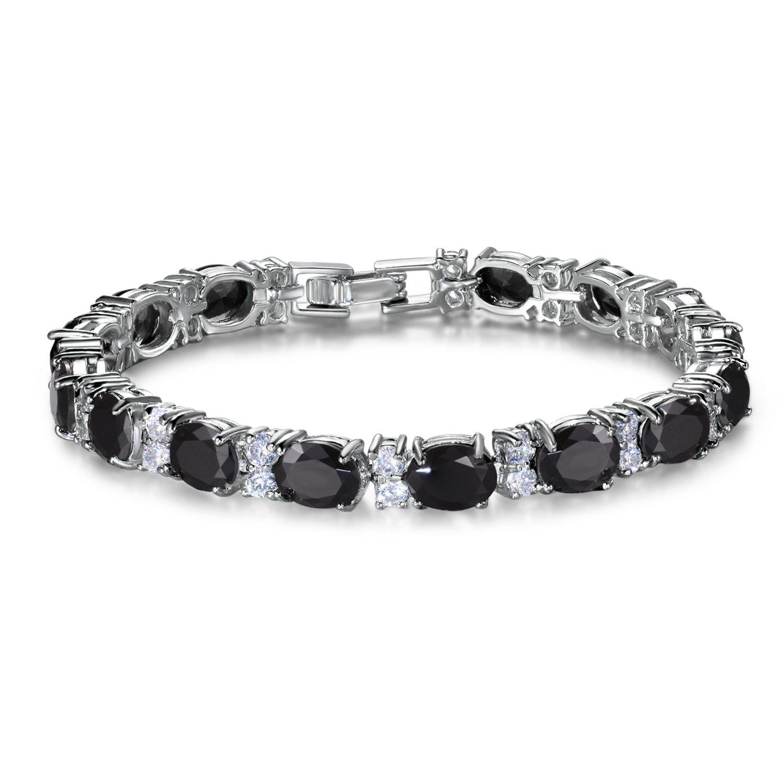 SELOVO Sparkling Black Stone Cubic Zirconia Oval Cut Stones Tennis Bracelet Silver Tone