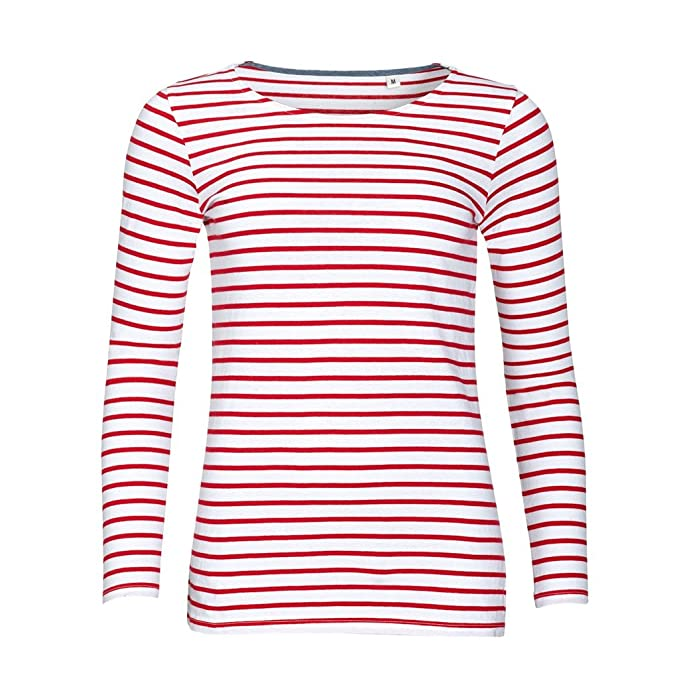 6ce56415cbe SOLS Womens/Ladies Marine Long Sleeve Stripe T-Shirt: Amazon.co.uk: Clothing