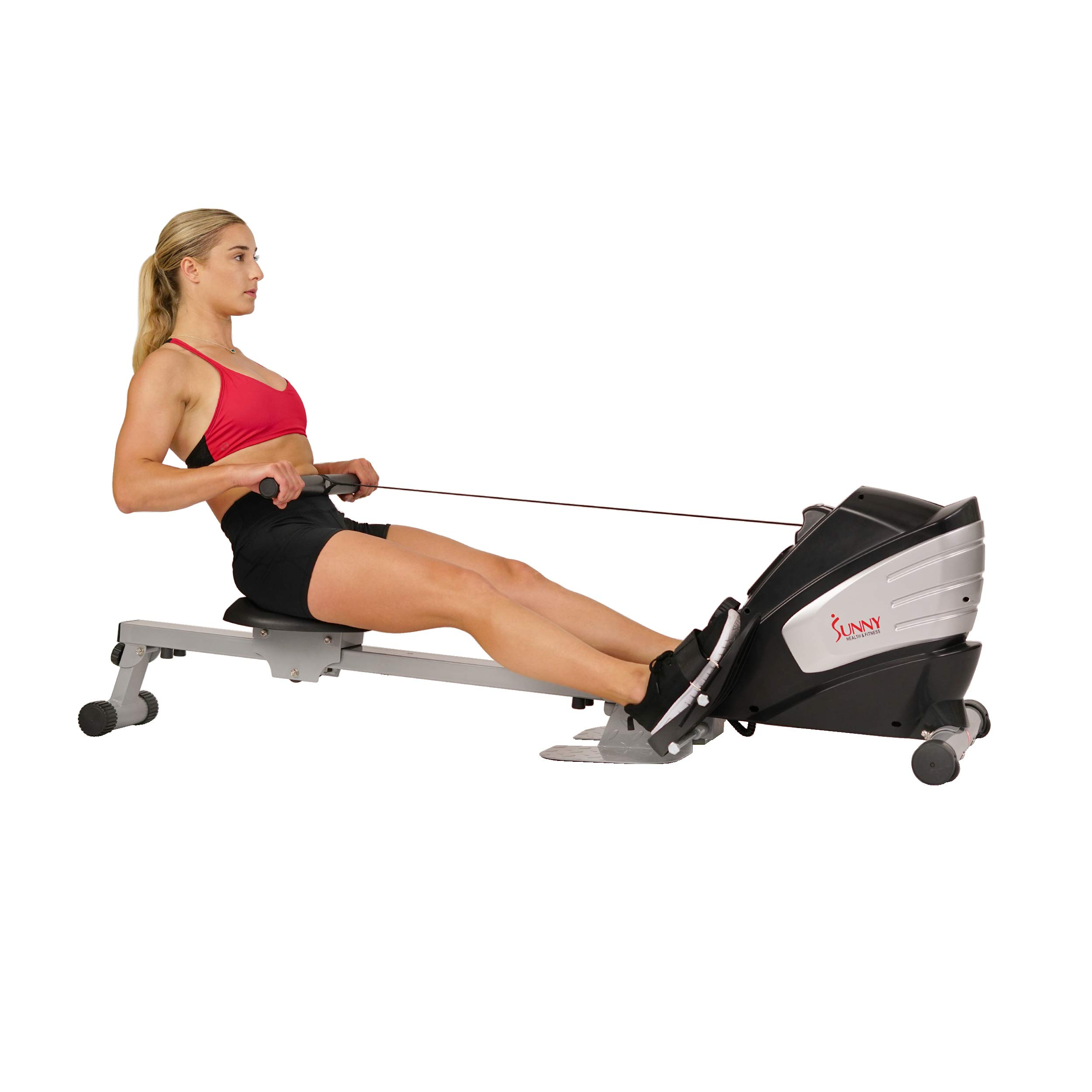 Sunny Health & Fitness Dual Function Magnetic Rowing Machine w/ Digital Monitor, Multi-Exercise Step Plates and Foldable -  SF-RW5622