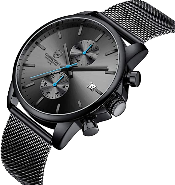 GOLDEN HOUR Men's Watches Fashion Sport Quartz Analog Black Mesh Stainless Steel Waterproof Chronograph Wrist Watch