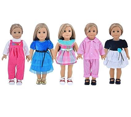 d0c85e139 Amazon.com  Ebuddy 5-sets Ramdon Style Doll Clothes Party Dress ...