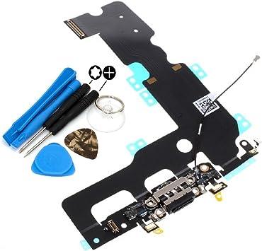 Para Iphone 7 Plus Conector de la Base Puerto de Carga Micrófono & Antena Repuesto Negro con Herramientas