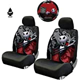 New 3 Pieces Nightmare Before Christmas Jack Skellington Ghostly Car Truck SUV Low Back Seat Covers Set with Air Freshener