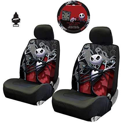 New 3 Pieces Nightmare Before Christmas Jack Skellington Ghostly Car Truck SUV Low Back Seat Covers