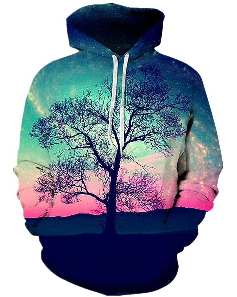NAYINLAN Unisex Simulation 3D Rainbow Watercolor Paint Print Hoodie Sweatshirt