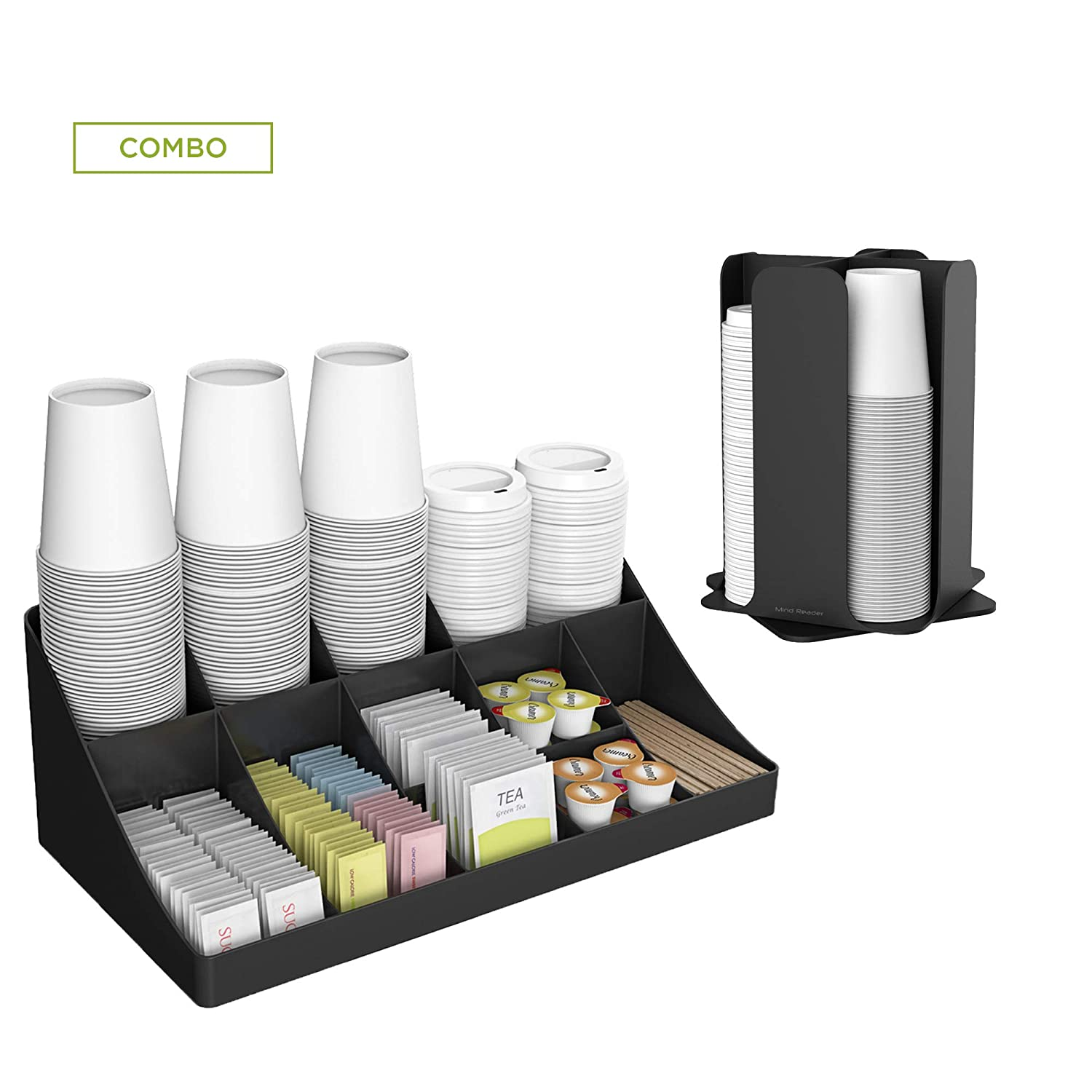 Mind Reader CDCOM-BLK Cup and Lid Organizer and Breakroom and Coffee Condiment Organizer, 15 Compartment, Black