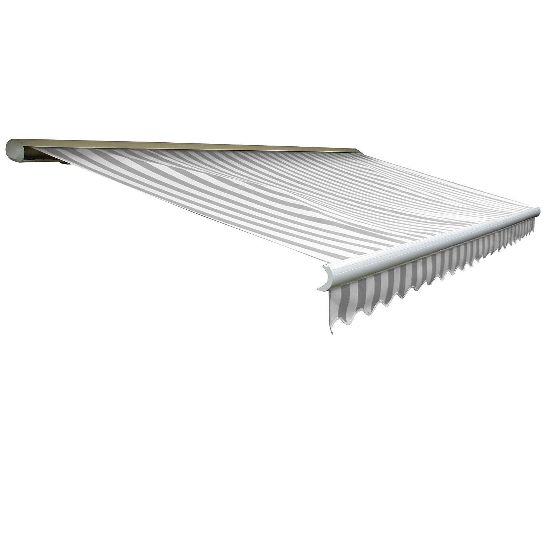 Elektrische Kassettenmarkise T122, Markise Vollkassette mit Volant 4x3m ~ Acryl Grau/Weiß