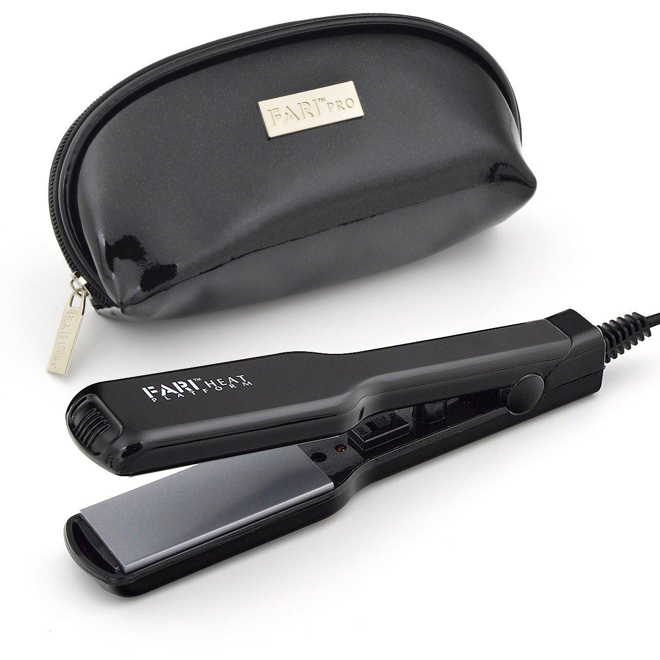 FARIHEAT Travel Mini Hair Flat Iron, Dual Voltage 1 Inch Ceramic Tourmaline Hair Straightener with Travel Pouch (Black)