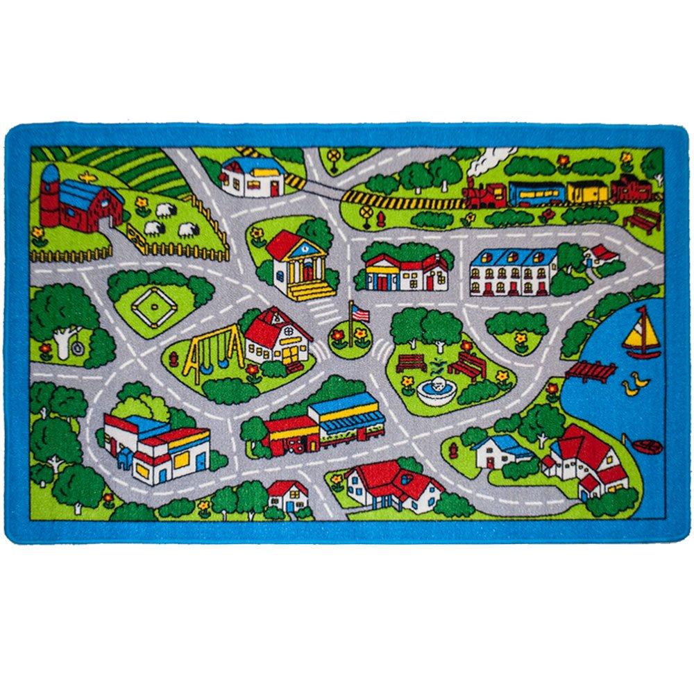 Kids Area Rug - Street Map Grey Design (5 Ft. X 7 Ft.)