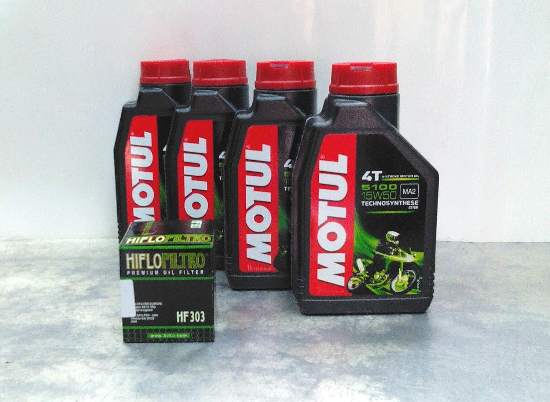 Motul 4litres d'huile Motul 510015W50 pour moto à moteur 4T, huile synthétique Technosynthese huile synthétique Technosynthese