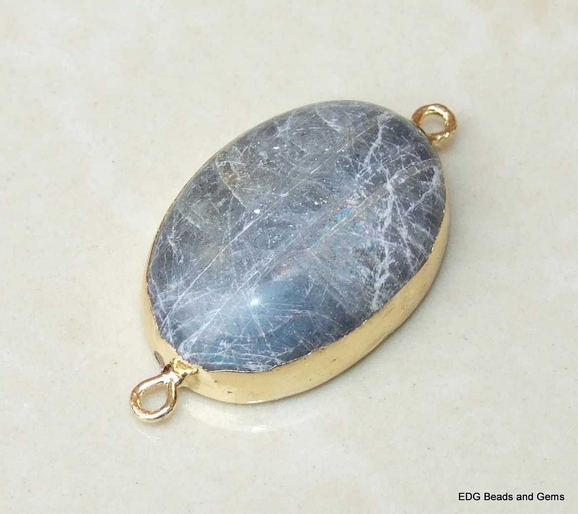 Gold Plate Edge and Loops 20mm x 30mm Labradorite Connector