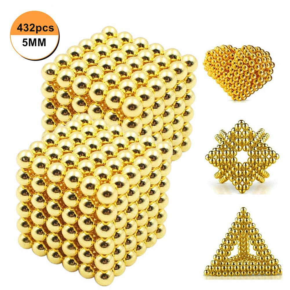 Q&Z 432 Pcs Magic Building Ball Toys 5mm Very Strong Neodymium Magnets Educational Stacking Toys Desk Toy Construction 3D for Intelligence Development and Stress Relief