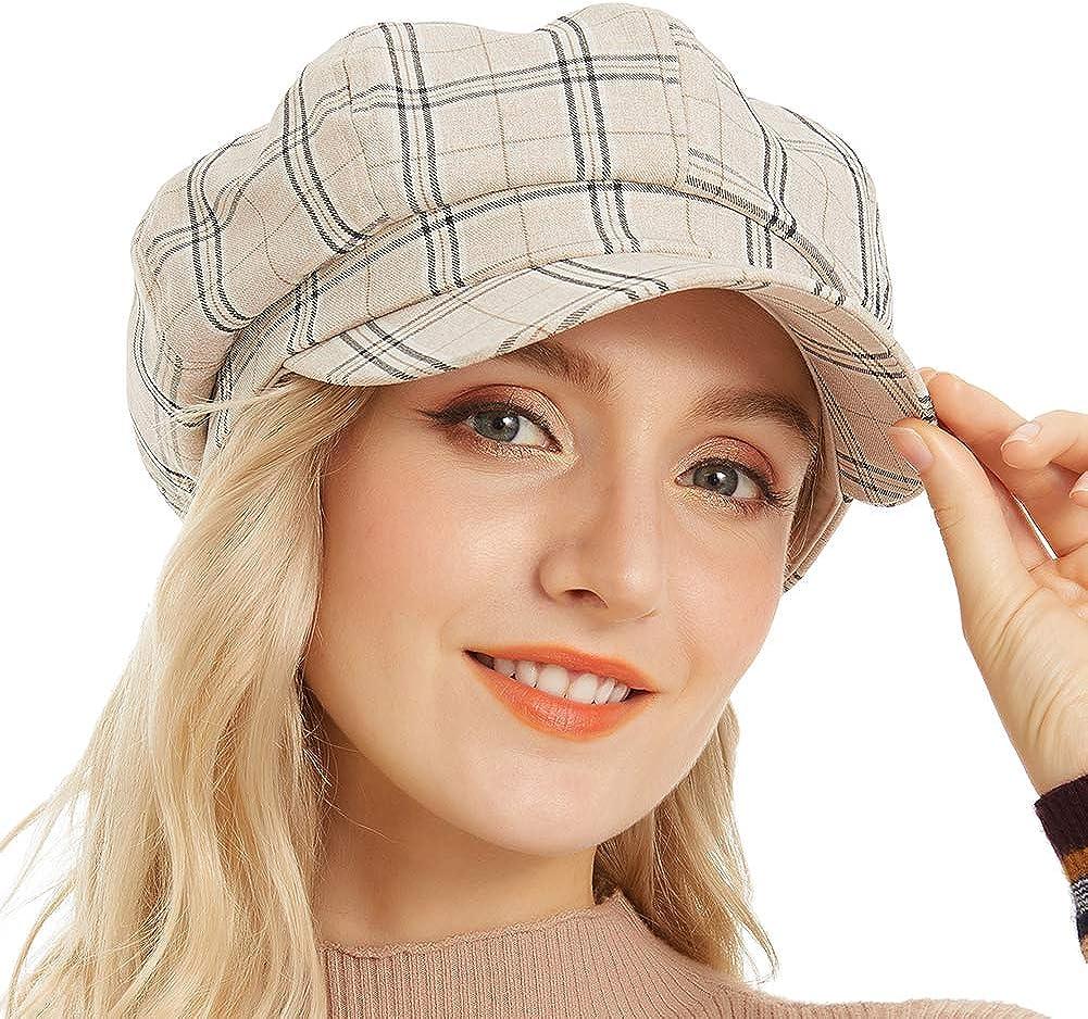 Newsboy Hats Women Plaid Cotton Linen 8 Panel Gatsby Apple Cabbie Cap Hat