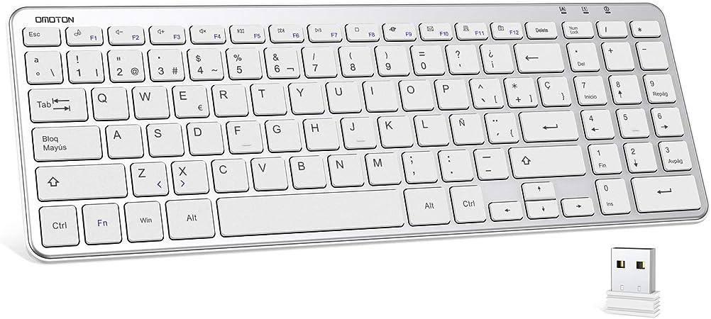 OMOTON Teclado Inalámbrico con USB (2.4 GHz, inalámbrico, Windows 7/8/10) Teclado Español con Teclas Numericas, Plata