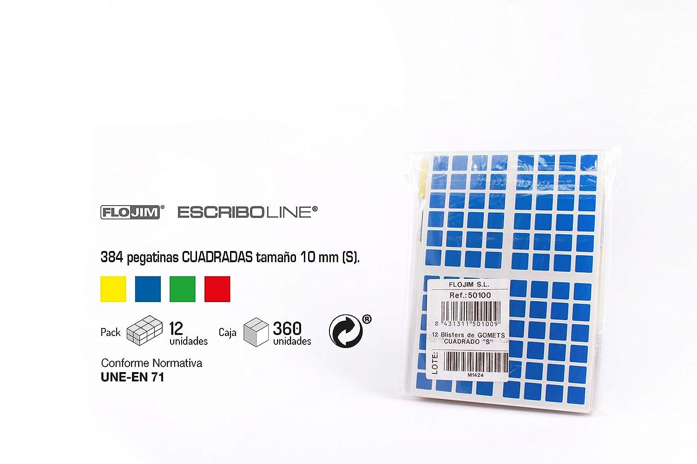 12 Blisters de 384 Gomets Cuadrado 10 mm. Colores parchis