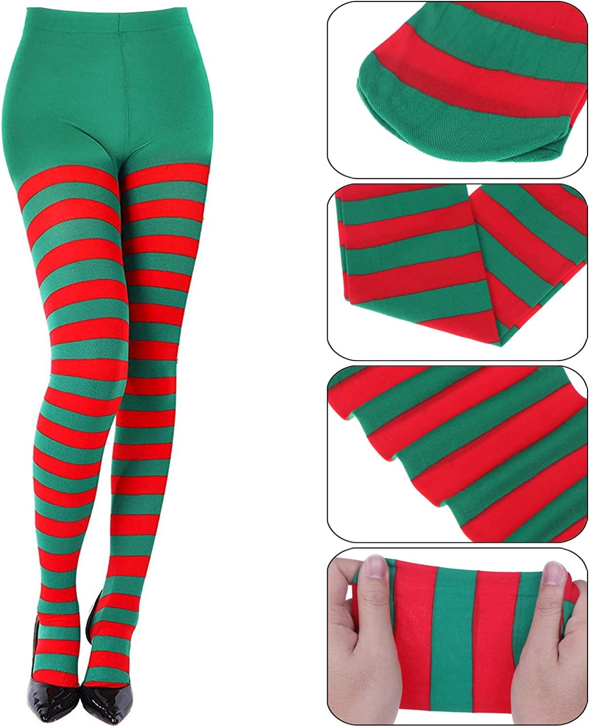 LOCOLO 3 Special Holiday Striped Socks Thigh High Stockings Pantyhose for Themed Party
