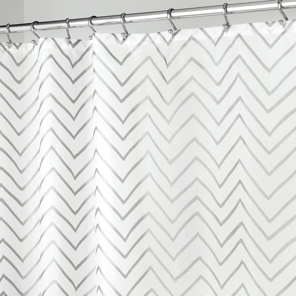 InterDesign Sketched Chevron Soft Fabric Stall Shower Curtain 54x78 Inch Gold Inc 57311