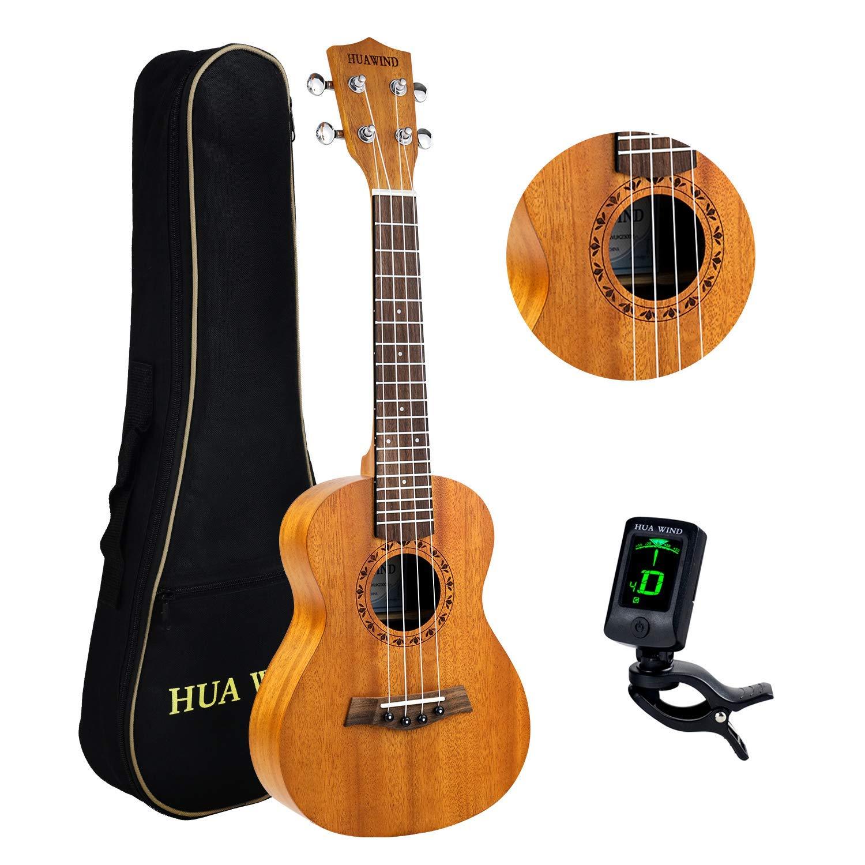 HUAWIND Concert Ukulele 23 inch Natural Mahogany Hawaiian Ukelele 4-String Starter Set with Gig Bag & Tuner