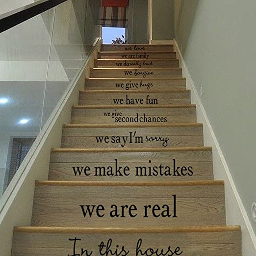 Quote Decal Decor Home Sticker Vinyl Stairs Staircase Steps Sayings Text Family