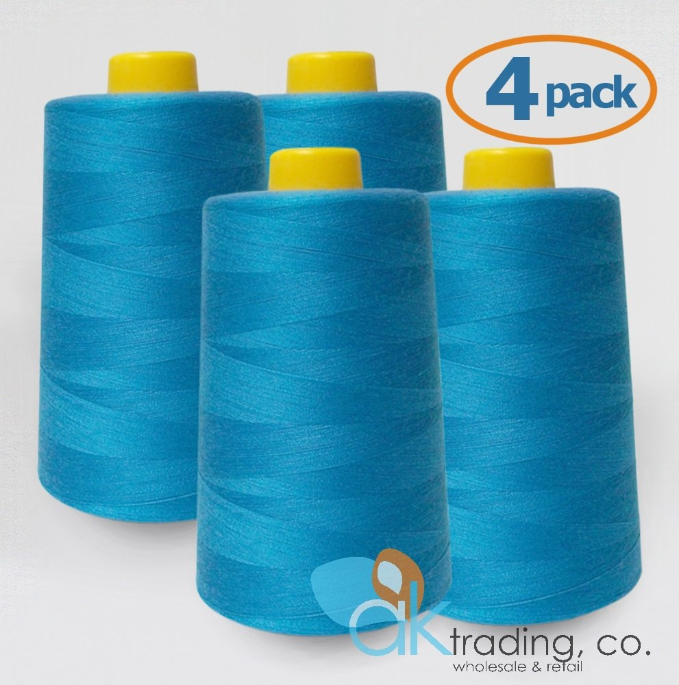 AK-Trading 4-Pack TURQUOISE Serger Cone Thread (6000 yards each) of Polyester thread for Sewing, Quilting, Serger #812 AK TRADING CO.