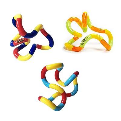 Tangle Jr. Brain Tools Classic Sensory Fidget Toy, 3 Pack, Carnival, Orange Yellow Green, Light Blue Red Yellow: Toys & Games