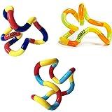 Tangle Jr. Brain Tools Classic Sensory Fidget Toy, 3 Pack, Carnival, Orange Yellow Green, Light Blue Red Yellow