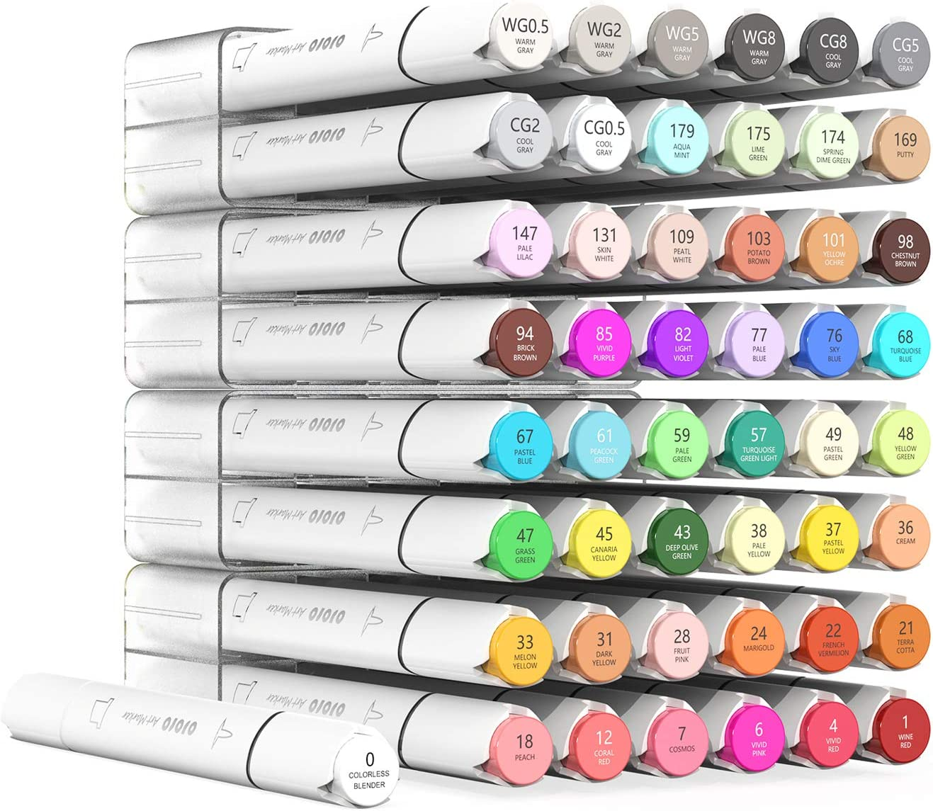 Alcohol Markers, Fine Chisel Dual Tipped Artist Sketch Markers for Sketching for Adult. 1 colorless blender and Highlighter Bonus (48 Colors Fine & Chisel)