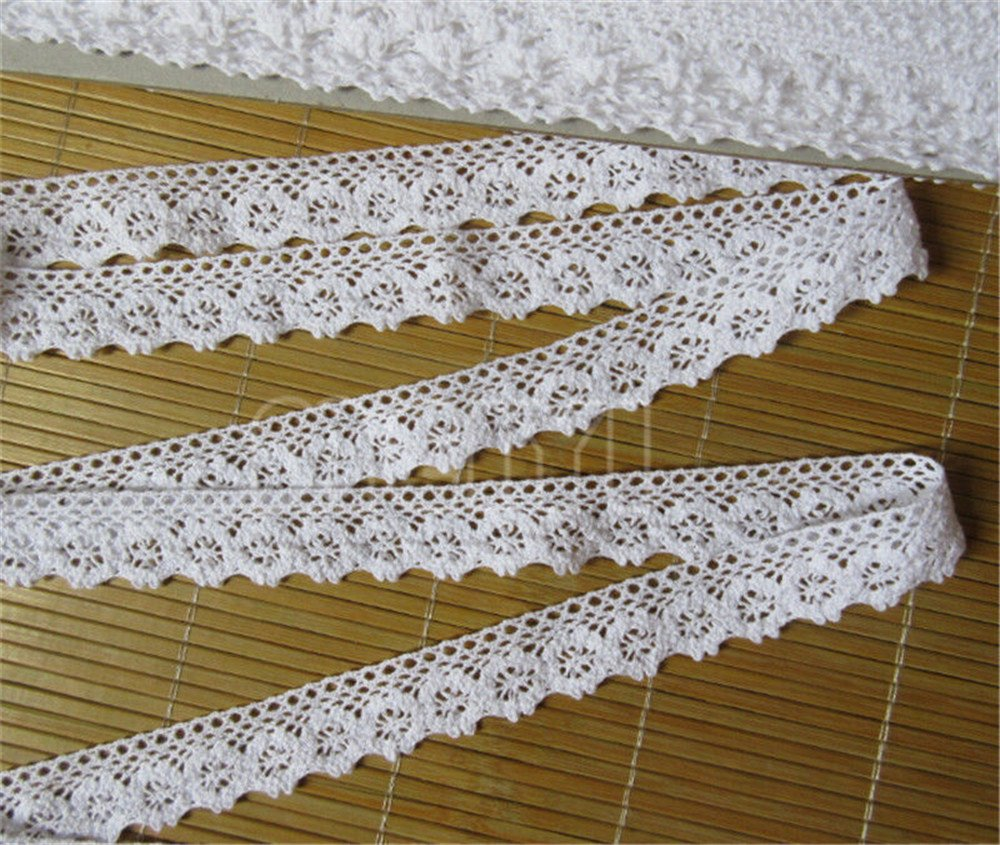 10 Meters Cotton Crochet Cluny Lace Edge Trim Ribbon 2.5 cm Width Vintage White Edging Trimmings Fabric Embroidered Applique Sewing Craft Wedding Dress DIY Cards Decor Clothes Hats Embellishment Qiuda